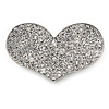 Silver Plated Pave Set Clear Crystal Heart Brooch - 47mm