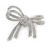 Double Bow Clear Crystal Brooch In Rhodium Plating - 55mm W
