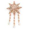 Rose Gold Layered Crystal Flower Brooch with Dangles - 11cm L