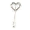 Silver Tone Clear Crystal Open Heart  Lapel, Hat, Suit, Tuxedo, Collar, Scarf, Coat Stick Brooch Pin - 50mm L