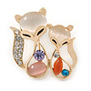 Gold Plated Crystal Two Fox Brooch - 30mm