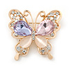 Mulicoloured Crystal Butterfly Brooch In Gold Plating - 35mm L