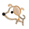 Gold Plated Crystal Puppy Brooch - 38mm L