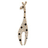 Clear/ Black Crystal Giraffe Brooch In Gold Tone Metal - 70mm L