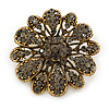 Vintage Inspired Grey Coloured Austrian Crystal Floral Brooch In Antique Gold Tone - 43mm D