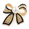 Gold Tone, Black Enamel, Crystal, Pearl Bow Brooch - 40mm L