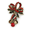 Vintage Inspired Red/Green/White Christmas Crystal Jingle Bell Brooch In Antique Gold Tone - 40mm