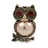 Vintage Inspired Topaz Crystal with Beige Pearl Owl Brooch In Bronze Tone - 35mm L