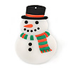 Flashing LED Blue and Red Lights Christmas Snowman Rubber Brooch - 55mm