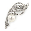 Clear Crystal, White Glass Pearl Leaf Brooch In Silver Tone - 55mm L