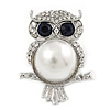 Clear/ Dark Blue Crystal, White Glass Pearl Sitting Owl Brooch/ Pendant In Silver Tone - 45mm L