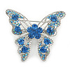 Dazzling Sky Blue Austrian Crystal Butterfly Brooch In Rhodium Plating - 60mm W
