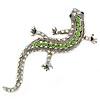 Light Green/ AB Crystal Lizard Brooch In Silver Tone Metal - 65mm L