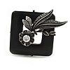 Vintage Inspired Black Ceramic Frame with Flowers Pewter Tone Brooch - 50mm