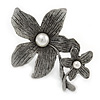 Vintage Inspired Double Flower with Pearls Pewter Tone Brooch/ Pendant - 75mm