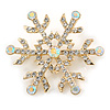 Clear/ AB Crystal Christmas Snowflake Brooch In Gold Tone Metal - 45mm D