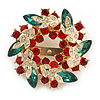Red/Green/White Crystal Christmas Holly Wreath Scarf Pin Brooch In Gold Tone - 50mm