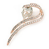 Clear Crystal, CZ Modern Leaf Brooch In Rose Gold Metal - 60mm