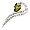 Clear Crystal, Olive CZ Modern Leaf Brooch In Rhodium Plating - 60mm