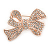 Stunning Clear Crystal Bow Brooch In Rose Gold Tone Metal - 45mm