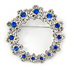 Rhodium Plated Clear/ Sapphire Blue Crystal Wreath Brooch - 45mm