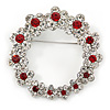 Rhodium Plated Clear/ Ruby Red Crystal Wreath Brooch - 45mm