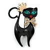 Princess Kitty Black Enamel With Green Eyes Brooch - 40mm L