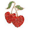 Bright Red, Apple Green Crystal Double Cherry Brooch In Gold Tone Metal - 35mm