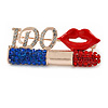 Gold Tone Crystal Lipstick, Lips, I Do Brooch - 50mm
