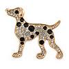Gold Plated Crystal, Enamel Dalmatian Dog Brooch - 35mm