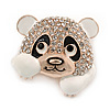 Clear Crystal White/ Black Enamel Panda Bear Brooch In Gold Tone - 30mm