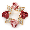 Red/ Pink Enamel Crystal Wreath Brooch In Gold Tone - 50mm D