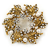 Clear Crystal, White Simulated Pearl Wreath Brooch In Gold Plating - 4cm D