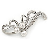 Fancy Simulated Pearl Crystal Floral Brooch In Rhodium Plated Metal - 60mm L