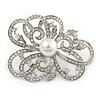 Bridal/ Wedding/ Prom Asymmetric Crystal Flower Brooch In Rhodium Plating - 60mm