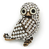 Vintage Inspired Crystal, Simulated Purple Owl Brooch In Bronze Tone Metal - 50mm L