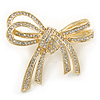 Double Bow Clear Crystal Brooch In Bright Gold Tone Metal - 55mm W