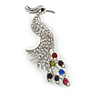 Exotic Multicoloured Crystal Bird Brooch In Rhodium Plating - 60mm