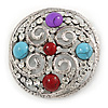Large Vintage Inspired Round Acrylic Stone, Crystal Brooch In Silver Tone - 63mm D