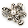 Vintage Inspired Layered Textured Flower Brooch In Silver Tone Metal - 60mm
