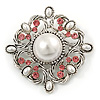 Vintage Bridal Corsage Simulated Pearl Pink Crystal Brooch In Silver Tone Metal - 50mm D