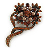 Vintage Inspired Amber Coloured, Simulated Brown Pearl Bead Floral Brooch In Bronze Tone Metal - 55mm