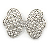 Simulated Pearl Clear Crystal Bow Brooch In Rhodium Plating - 65mm