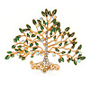 Clear Crystal, Green Enamel Tree Of Life Brooch In Gold Plating - 50mm
