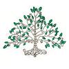 Clear Crystal, Green Enamel Tree Of Life Brooch In Rhodium Plating - 50mm