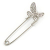 Clear Crystal Assymetrical Butterfly Safety Pin In Silver Tone - 70mm L