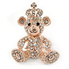 Gold Tone Clear Crystal Royal Teddy Bear Brooch - 40mm L