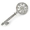 Rhodium Plated Clear/ AB Crystal Key Brooch - 60cm L