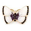 White Eanamel Purple Crystal Butterfly Brooch In Gold Tone Metal - 50mm