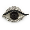 Quirky Black/ Clear Crystal Eye Brooch In Silver Tone Metal - 50mm